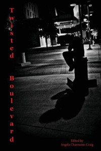 "Black and white photo of urban street, hotel or similar in the background with a lit-up canopy, silhouette figure in foreground sitting on a low pillar. ""Twisted Boulevard"" in red down the left, and ""Edited by Angela Charmaine Craig"" at bottom."